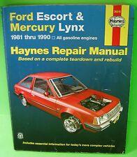 New listing Haynes Ford Escort Mercury Lynx 1981-1990 Repair Manual 36016 Isbn 1 56392 004 2