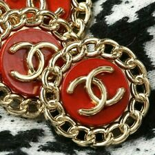 Chanel Buttons STAMPED 2pc CC Red & Gold19 mm Vintage Style 2 Buttons AUTH!!!