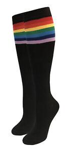 Women's Black or White Rainbow Stripe Knee High Socks