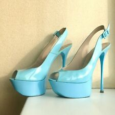 Gianmarco Lorenzi Sky Blue Patent Leather Peep Toe Heels Size 40