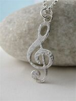 "Sterling Silver Sparkly Hammered Treble Clef Pendant Necklace 16""-24"" Handmade"