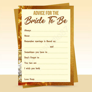 x10 Advice for the Bride to Be cards, hen party, bridal shower game, Brown