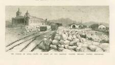1877 ANTIQUE PRINT-India BALLARI Madras famine Grain Railway Station (164 c)