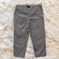Talbots Petite HERITAGE Women Capri Cropped Pants Black White 6P Side Zip Cotton