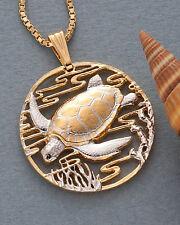 """Sea Turtle Pendant Hand Cut Sea Turtle Medallion, 1-3/8"""" diameter, ( # 587 )"""