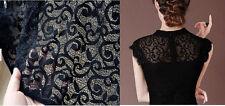 "Lace Fabric Black Retro Wedding Fabric 55.1"" width 1 yard"