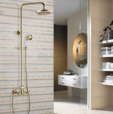 """Polished Gold Brass Rain Shower Faucet with 8"""" Shower Head + Hand Shower 8gf334"""