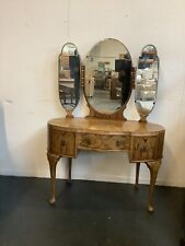 More details for antique french style walnut dressing table with mirror