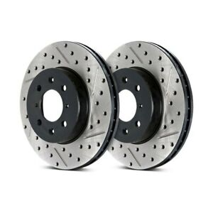 Stoptech Drilled & Slotted Brake Discs Front Pair For Mini Paceman (R61) 12-