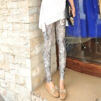 Women′s Sexy Skinny Girl Leggings Cotton Stretchy Slim Lace Floral Pants
