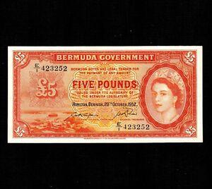 Bermuda 5 Pounds 1952 P-21a * XF * Queen Elizabeth * First Date *