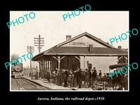OLD LARGE HISTORIC PHOTO OF AURORA INDIANA, THE RAILROAD DEPOT STATION c1910