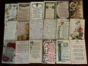 Lot of 21~Arts & Crafts~ Poems~Words~Quotations Vintage Antique  Postcards-k591