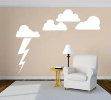 Cloud and Lighting Bolt Wall Mural | Large Sky Nurshery Vinyl Decals [Arsen 152]