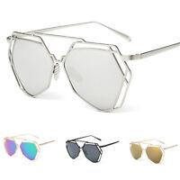 Women Retro Designer Metal Frame Mirrored Sunglasses Eye Glasses Eyewear Fashion