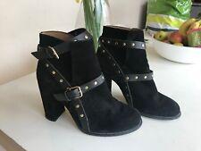TOPSHOP black suede block heel gold stud buckle ankle boots 6 39 VGC