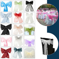 Organza Sashes Satin Chair Cover Sash Lace Style Party Bows Over 30 Colours UK
