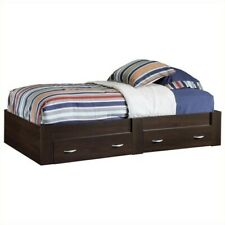 Twin Platform Wooden Bed Frame with 2 Storage Drawers Kids Bedroom Furniture