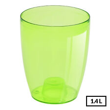 GREEN Round Transparent Cute Home Office Orchid Pot Flower Container 16cm tall