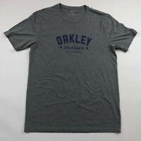 Oakley Mens Regular Fit Gray Short Sleeve Tank Graphic T Shirt Medium