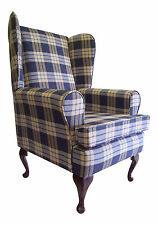FIRESIDE/WING BACK/QUEEN ANNE CHAIR INDIGO KINTYRE TARTAN CHECK