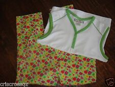 SET 2: LIME GREEN Hot Pink FLORAL CAPRIS & Lime WHITE slvls TOP *  S / 6 / 6P *