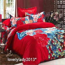 China Red Peacock Queen Size Bed Quilt/Doona/Duvet Cover Set 100%Cotton 4PCS New