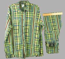 VERSACE JEANS COUTURE Women Matching Vintage Striped Shirt XXL Pants W28 L30 1/2