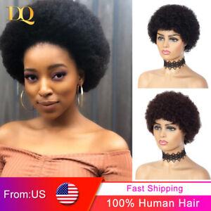 Short Kinky Curly Human Hair Wigs Afro Remy Brazilian Cheap Wigs for Black Women