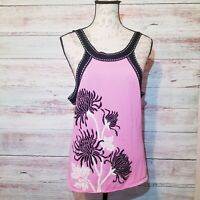 Cache Tank Top Womens Size Large Pink Black Floral Knit