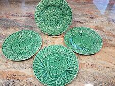 4 Bordallo Pinheiro Fruit Plates Majolica Green