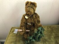 OOAK Carol Martin Artist Made Mohair Teddy Bear Woody w Glass Eyes w Axe & Tree