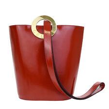 Auth CELINE PARIS Circle Logos Shoulder Bag Leather Red Italy Vintage 88L214