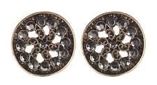 Clip Sur Boucles d'oreilles-Antique Gold Stud avec noir émail et cristaux-Dacey