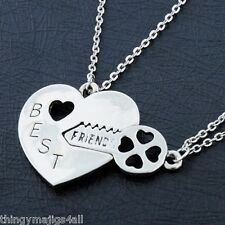 2 PART SILVER BEST FRIENDS NECKLACE PENDANT SET HEART KEY FRIEND GIFT 2 IN 1