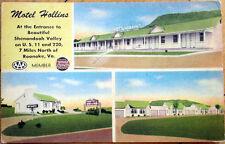 1940 Linen Postcard: Motel Hollins, Shenandoah Valley - Roanoke, Virginia VA