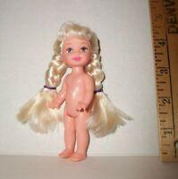 MATTEL NUDE CE Barbie KELLY CLUB PIGTAIL BRAIDS HAIR 4 INCH DOLL For OOAK READ!