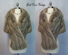 Elegant Vintage 60s SAPPHIRE GREY SILVER MINK Fur Stole Cape Wrap Shawl