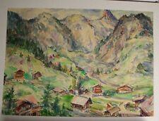 Aquarell Bild Alpenlandschaft Berge Alpen 1970 gute Qualität 62x58 cm Künstler ?