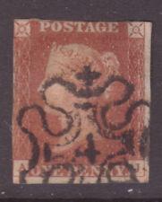 Sg 8 1d Red Aj Rare Number 4 in Maltese Cross Postmark Cat £600