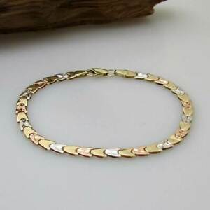 Wert 600,- Gold Armband 585 / 14 KT Gelbgold, Weißgold Rotgold Armband tricolor