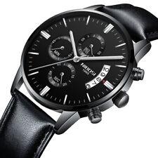 Herrenuhr Leder Armbanduhr Quarz Chronograph Uhr Schwarz 3ATM wasserdicht Datum