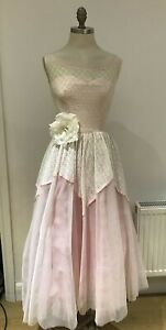 Vintage1950s Pink/White Broderie Anglais Prom Party Dress Petite Size