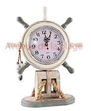 Horloge barre à roue, gouvernail, grise et blanche décoration style marin neuf