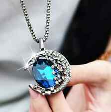 Women Jewelry Crystal Moon Retro Long Blue Pendant Sweater Chain Necklace