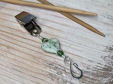 Green Heart Portuguese Knitting Pin- ID Badge Pin