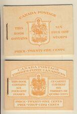 1953 #BK45B and #BK45E 25¢ QUEEN ELIZABETH II KARSH PORTRAIT ISSUE BOOKLETS NH