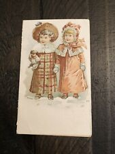 Antique Victorian Bangor Maine Christmas Snow Children Trade Card Bufford