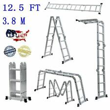 New 125ft Multi Purpose Aluminum Ladder Folding Step Ladder Scaffold Extendable