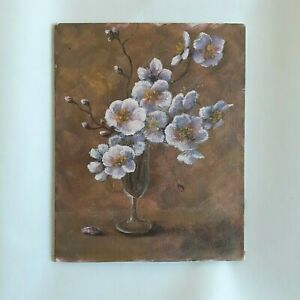 """VINTAGE Signed Original BLOOMING BRANCHES PAINTING 1973 Unframed 8""""x10"""" Acrylic"""